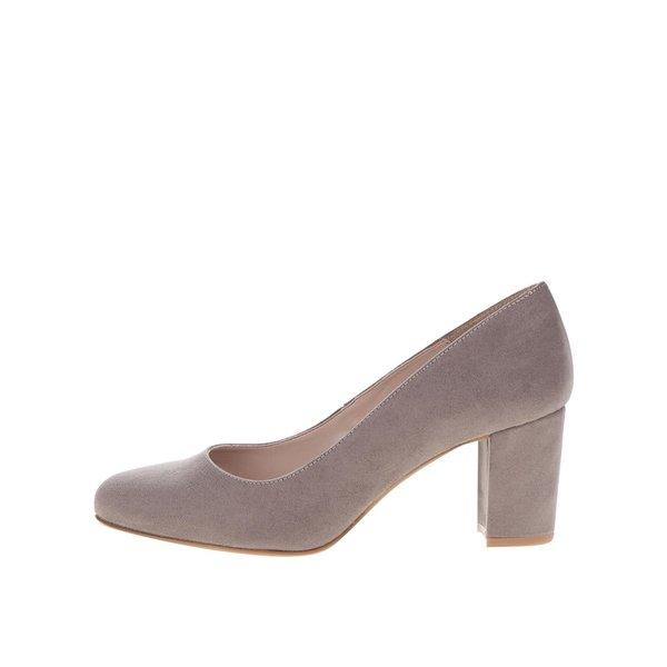 Pantofi maro cu toc OJJU cu aspect de piele întoarsă de la OJJU in categoria pantofi cu toc