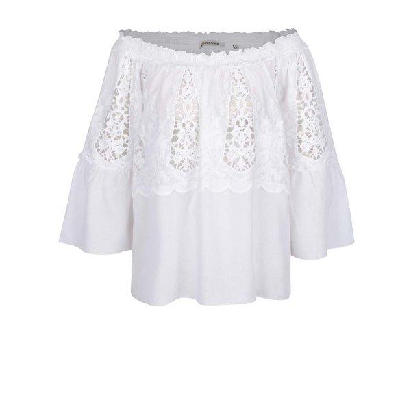 Bluză albă Rich & Royal cu mâneci trei sferturi fluture și detaliu din dantelă de la Rich & Royal in categoria Topuri, tricouri, body-uri