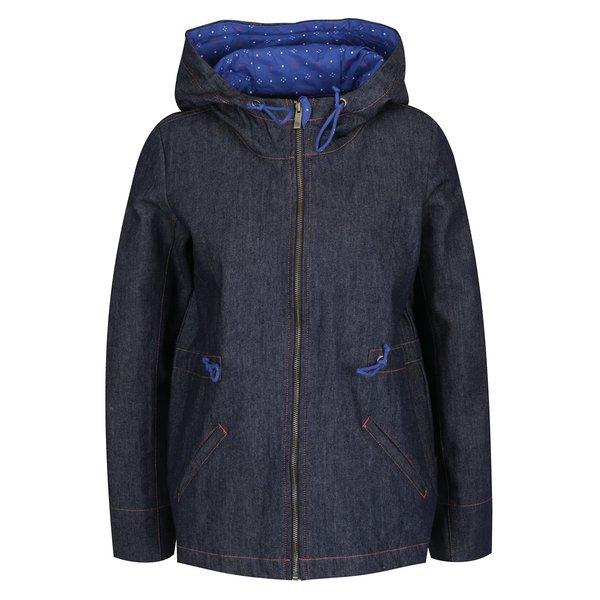 Jachetă albastru închis din denim Tranquillo Jorun cu glugă