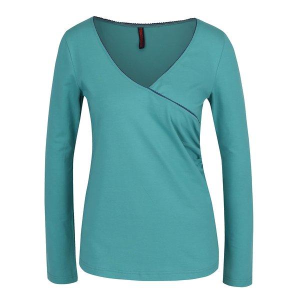 Bluză turcoaz Tranquillo Mara cu detaliu albastru închis
