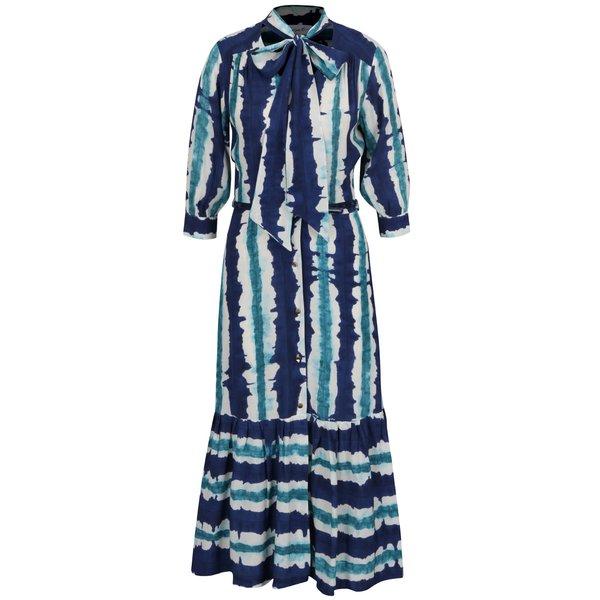 Rochie maxi albastru&verde Closet cu volane și model acuarelă de la Closet in categoria rochii de seară