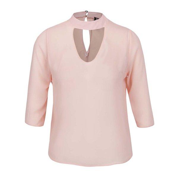 Bluză roz pal Madonna Chispy cu decupaj en coeur