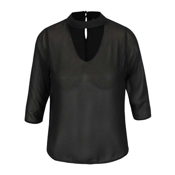 Bluza neagra Madonna Chipsy cu decolteu cu decupaj en coeur