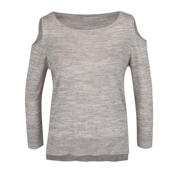 Bluză gri deschis ONLY Caprice cu decupaj pe umeri de la ONLY in categoria Pulovere și hanorace