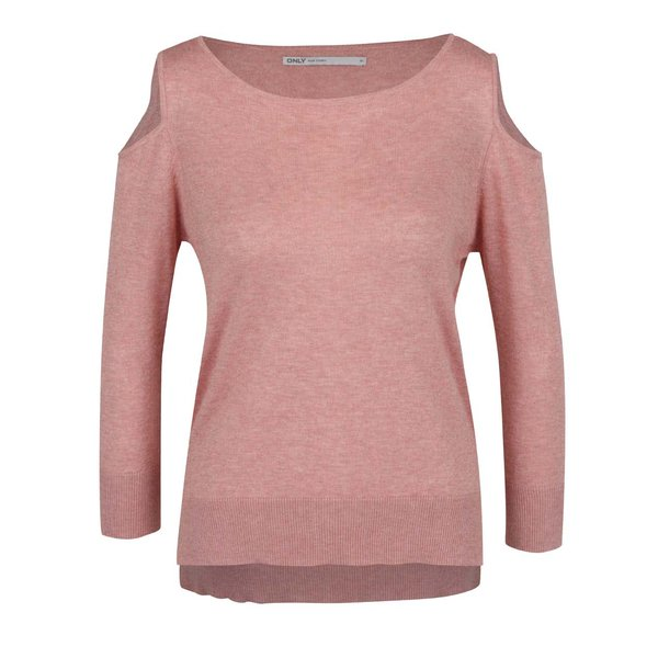Bluză roz ONLY Caprice cu decupaj pe umeri de la ONLY in categoria Pulovere și hanorace