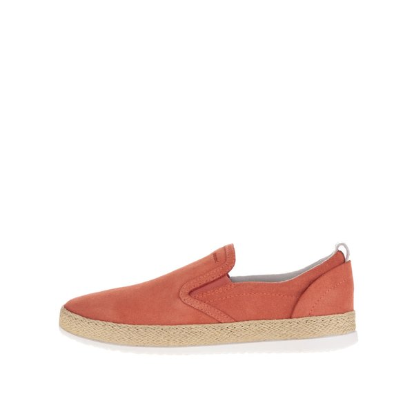 Teniși slip on portocalii Geox Maedrys din piele întoarsă de la Geox in categoria pantofi sport și teniși