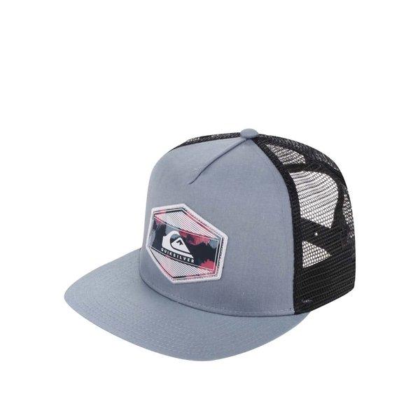 Șapcă albastră Quiksilver cu logo și detaliu negru din plasă