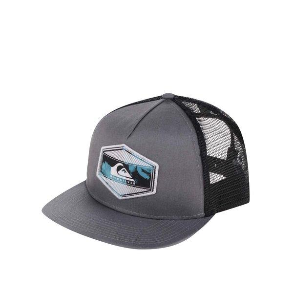 Șapcă gri Quiksilver cu logo și detaliu negru din plasă