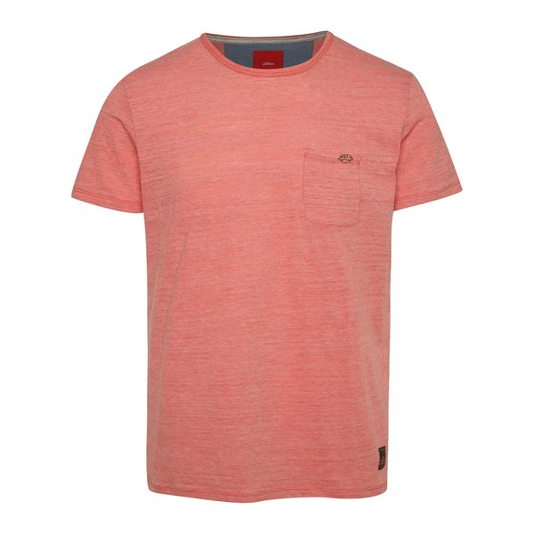 Tricou roșu căpșună slim fit s.Oliver cu buzunar pe piept