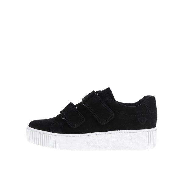 Pantofi sport negri din piele intoarsa Tamaris