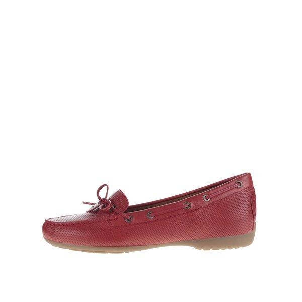Mocasini roșii Tamaris din piele cu model