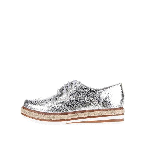 Pantofi Oxford argintii Tamaris cu detaliu de la Tamaris in categoria pantofi și mocasini