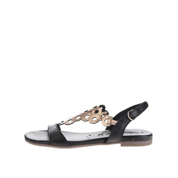 Sandale negre Tamaris din piele cu detaliu geometric auriu de la Tamaris in categoria sandale