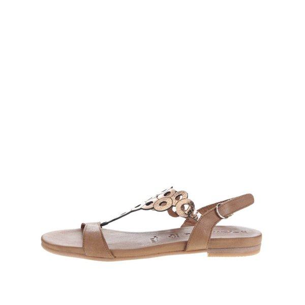 Sandale maro Tamaris din piele detaliu geometric auriu de la Tamaris in categoria sandale