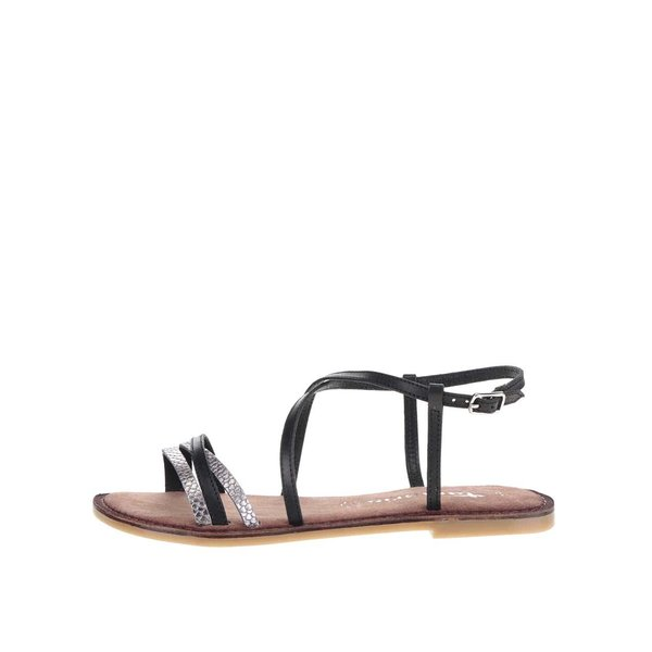 Sandale negre Tamaris din piele cu detalii argintii de la Tamaris in categoria sandale