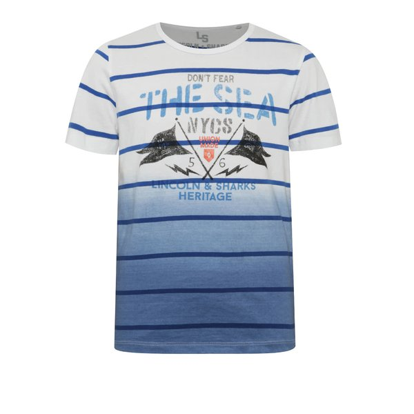 Tricou alb cu albastru 5.10.15. în dungi pentru băieți