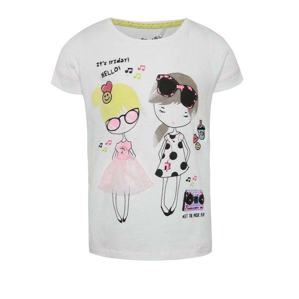 Tricou alb pentru fete 5.10.15. cu print multicolor