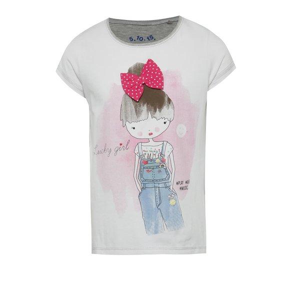 Tricou alb&gri pentru fete 5.10.15. cu fundiță aplicată și print acuarelă