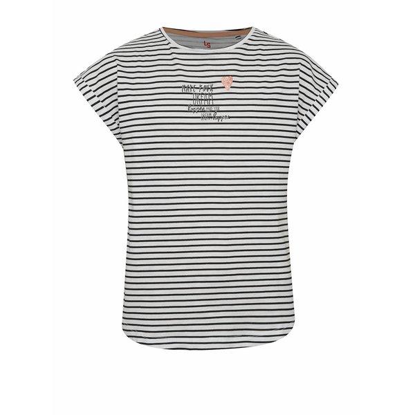 Tricou negru & alb 5.10.15. din bumbac cu model în dungi și print pentru fete