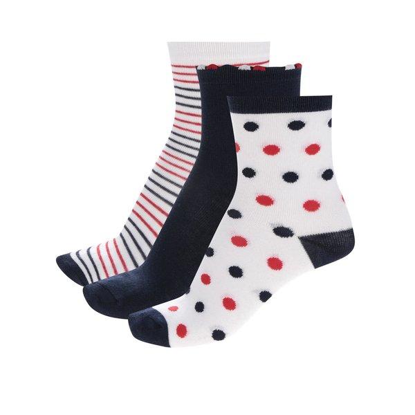 Set trei perechi de șosete alb&bleumarin&roșu 5.10.15 pentru fete
