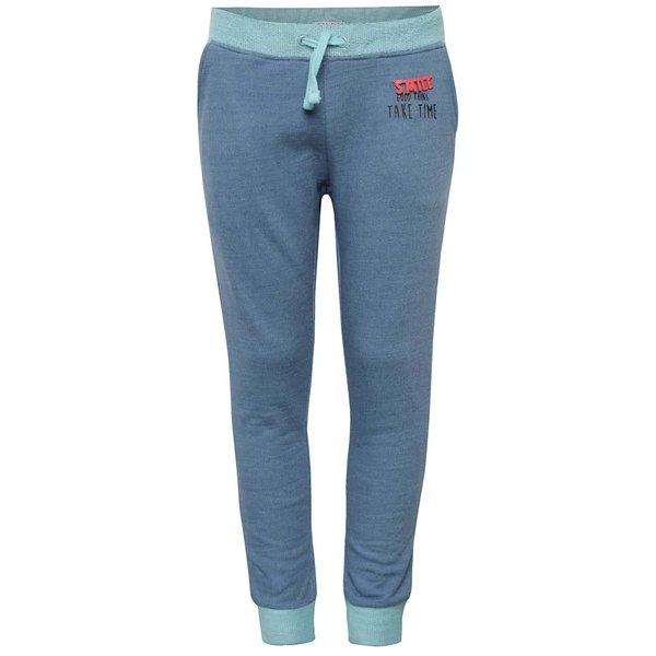 Pantaloni sport albastru închis melanj 5.10.15. cu detalii turcoaz și print pentru fete