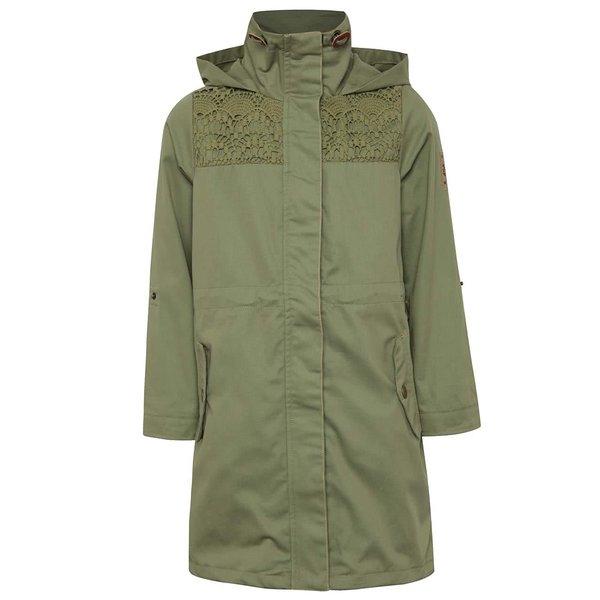Jachetă lungă kaki 5.10.15. din bumbac cu detalii pentru fete de la 5.10.15. in categoria Geci, jachete, paltoane