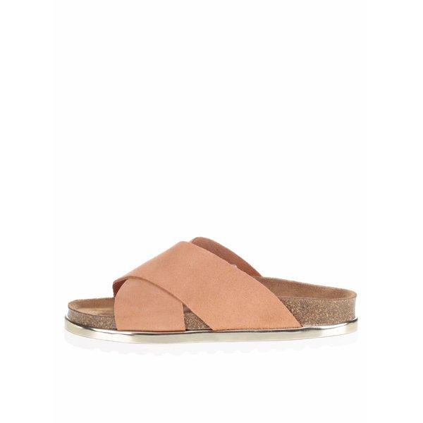 Papuci ortopedici roz somon VERO MODA Lise cu detaliu auriu de la VERO MODA in categoria șlapin