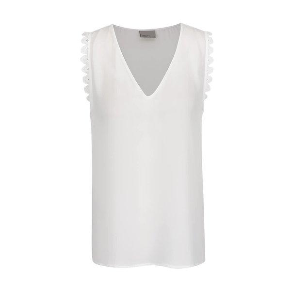 Top alb fildeș VERO MODA New Laurie cu inserție macrame