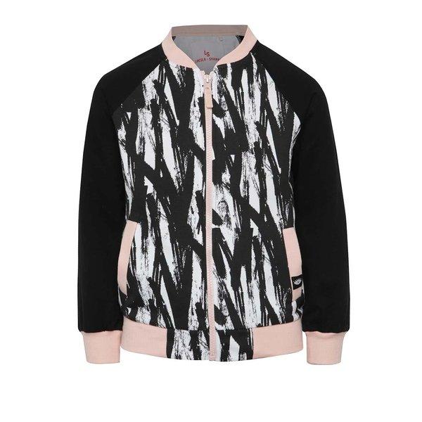 Jachetă bomber negru & crem 5.10.15. cu detalii roz și model pentru fete