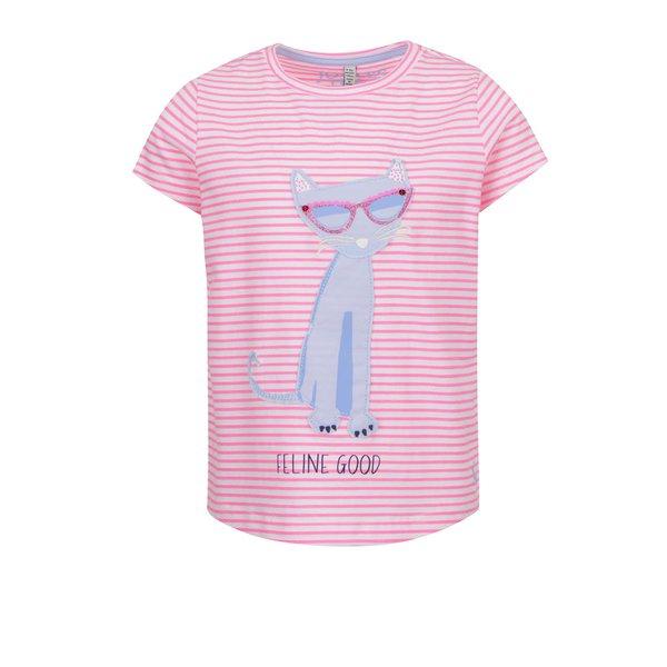 Tricou roz Tom Joule din bumbac cu print și model în dungi pentru fete de la Tom Joule in categoria Tricouri, camasi