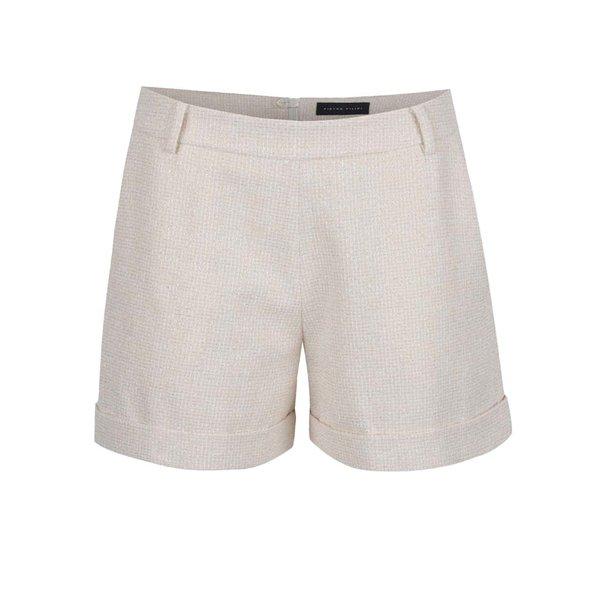 Pantaloni scurți crem Pietro Filipi din stofă subțire