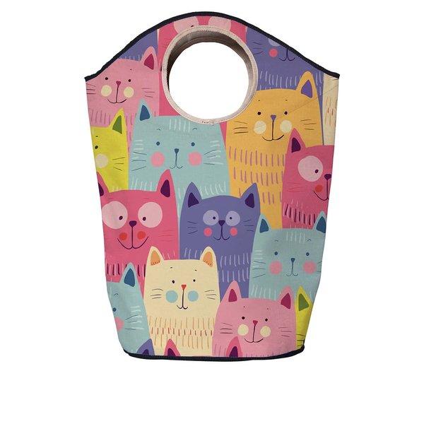 Coș de rufe albastru & roz Butter Kings cu model cu pisici