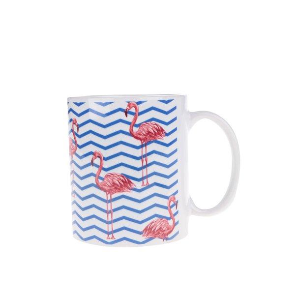 Cană albastru & alb Butter Kings cu model cu Flamingo