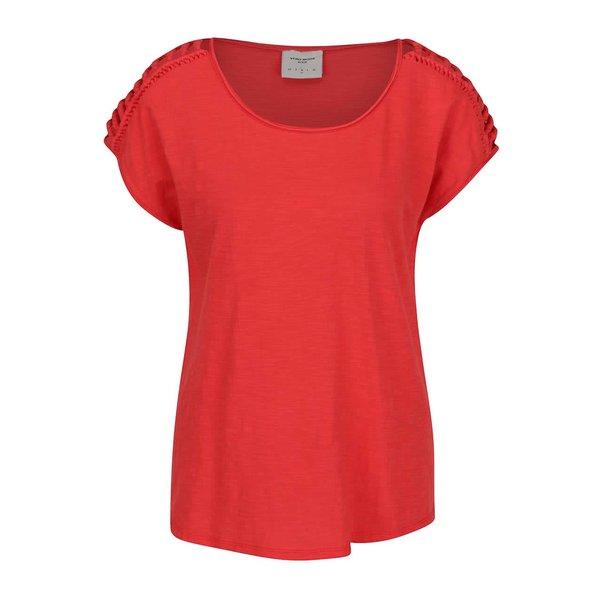 Tricou roșu VERO MODA Braida cu detalii împletite