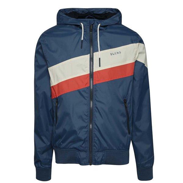 Jachetă subțire albastră din fâș Blend cu glugă