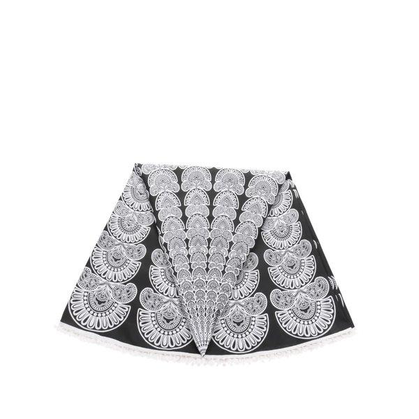 Eșarfă negru&alb Pieces Landua cu imprimeu