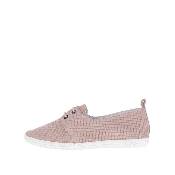Pantofi roz deschis din piele întoarsă bugatti Kaya Evo cu model perforat