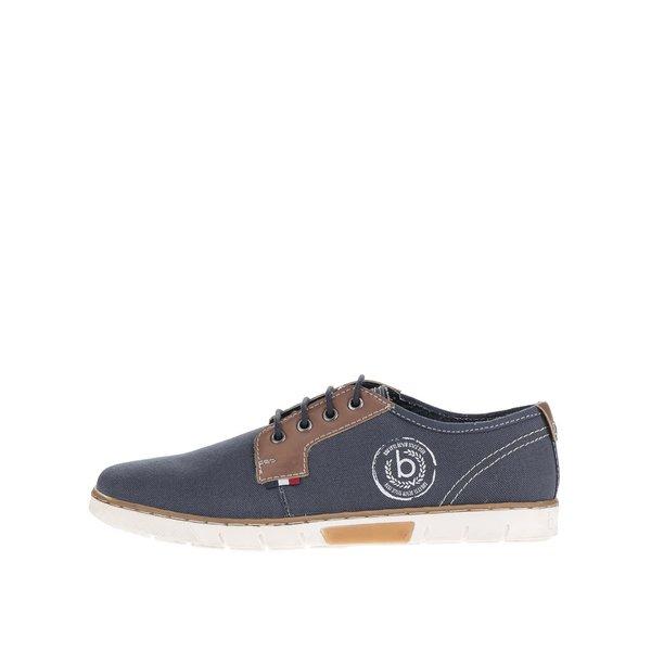 Pantofi bleumarin bugatti Pacific din pânză cu detalii maro din piele sintetică de la bugatti in categoria pantofi și mocasini