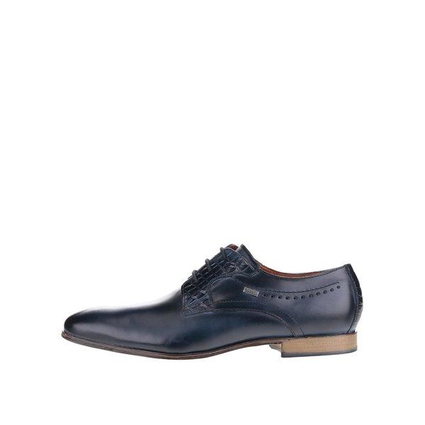 Pantofi bleumarin din piele bugatti Mosario cu detalii ce imită pielea de crocodil de la bugatti in categoria pantofi și mocasini