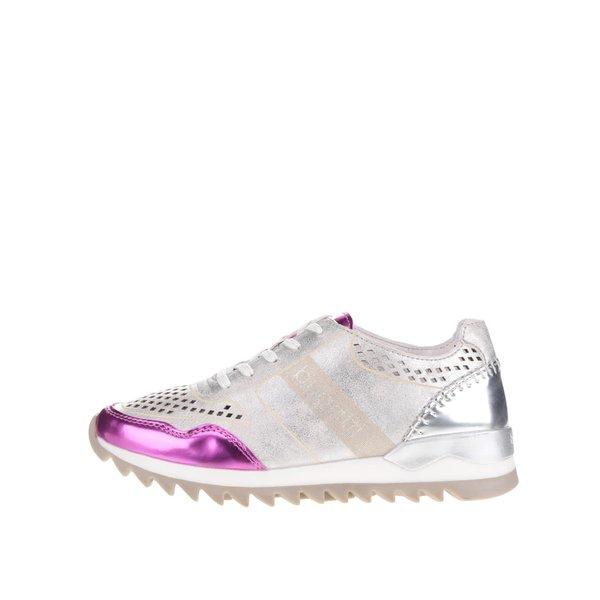 Pantofi sport argintii pentru femei bugatti Farah cu detalii roz metalizate de la bugatti in categoria pantofi sport și teniși