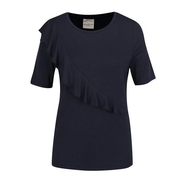 Bluză albastru închis Selected Femme Galina cu volan decorativ