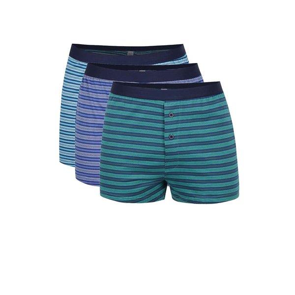 Set de 3 boxeri albastru & verde M&Co din bumbac cu model în dungi de la M&Co in categoria Lenjerie intimă, pijamale, șorturi de baie