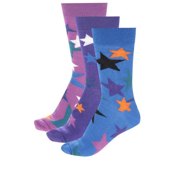 Set multicolor cu 3 șosete cu model cu steluțe Oddsocks Evan