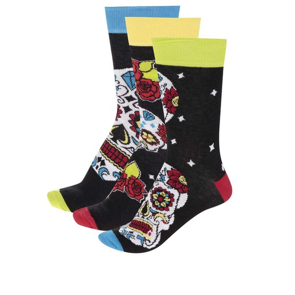Set de 3 șosete negre cu print multicolor Oddsocks Wesley