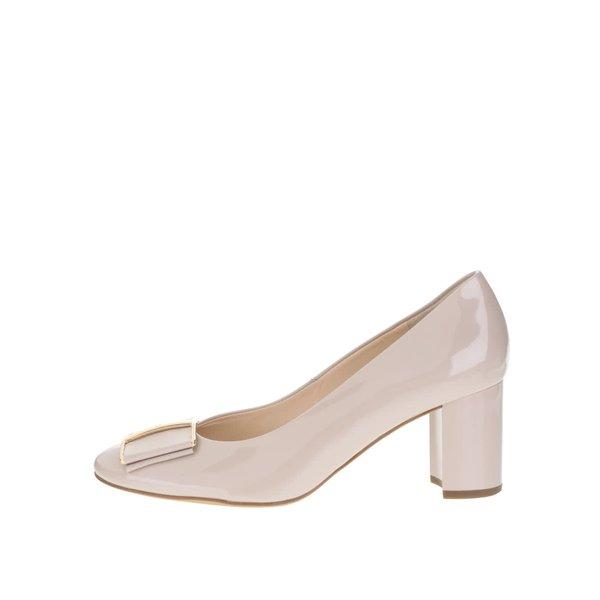 Pantofi bej din piele lăcuită Högl cu toc masiv