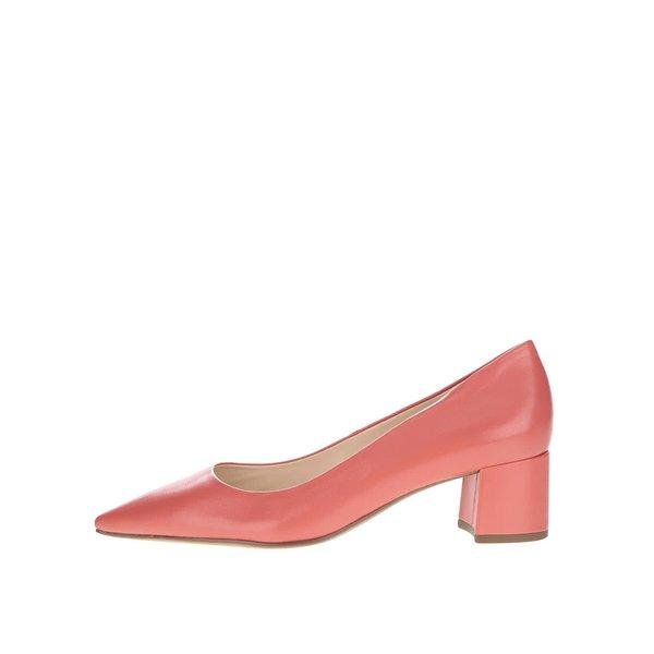 Pantofi roșu corai din piele Högl cu toc mic