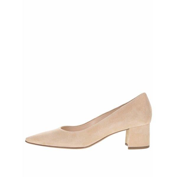 Pantofi bej din piele întoarsă Högl cu toc mic
