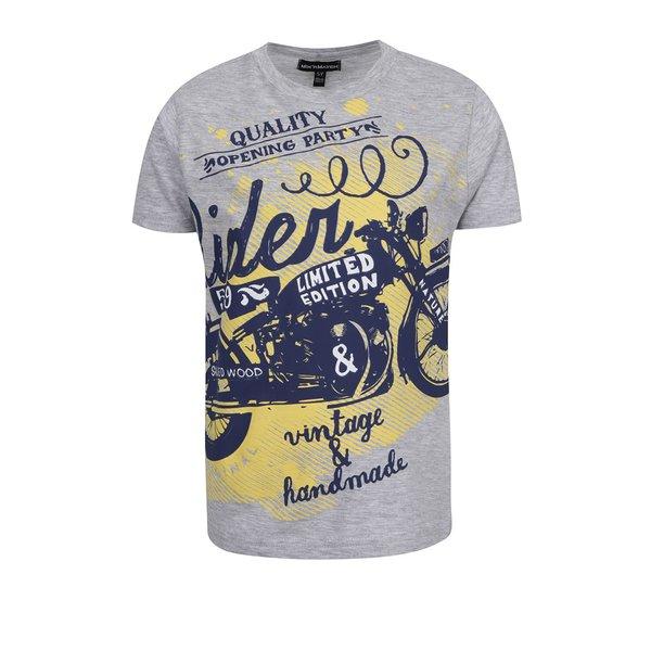 Tricou gri melanj Mix´n Match din bumbac cu print pentru băieți