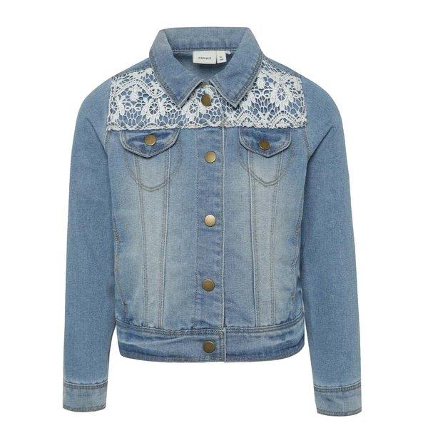 Jachetă albastru deschis din denim pentru fete Name It cu detalii din dantelă de la name it in categoria Geci, jachete, paltoane