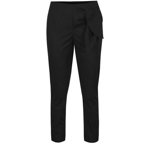 Pantaloni negri VERO MODA Solid cu panglici decorative